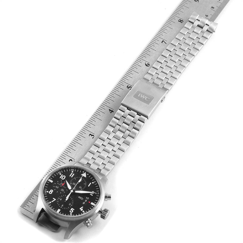 22344 IWC Pilot Black Dial Chronograph Mens Watch IW377704 Papers SwissWatchExpo