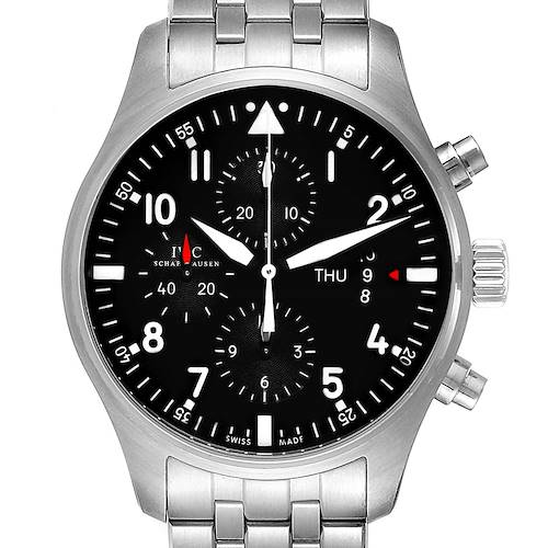 Photo of IWC Pilot Black Dial Chronograph Steel Mens Watch IW377704 Card