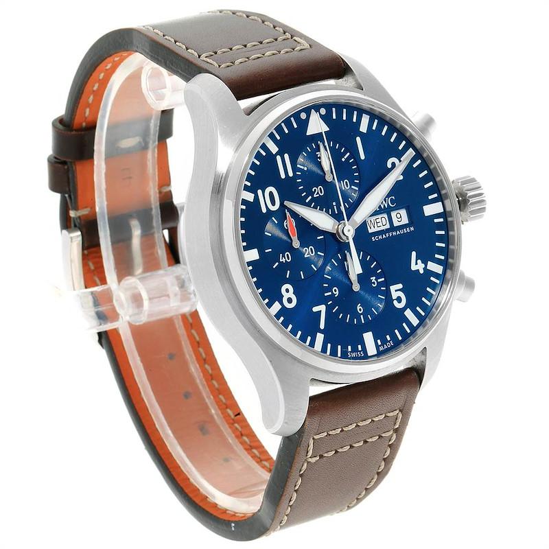 IWC Pilot Le Petit Prince Blue Dial Chronograph Mens Watch IW377714 SwissWatchExpo