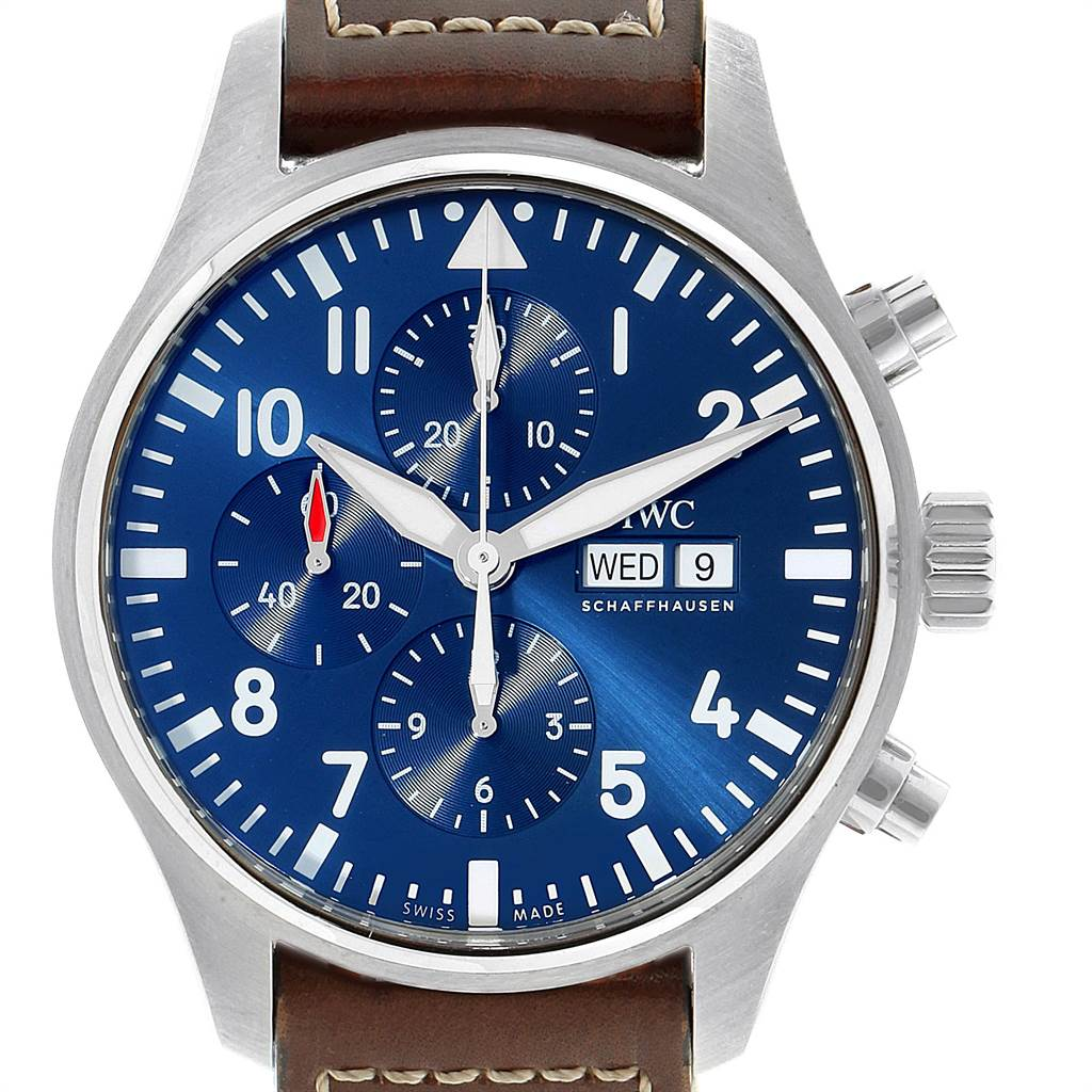 Photo of IWC Pilot Le Petit Prince Blue Dial Chronograph Mens Watch IW377714