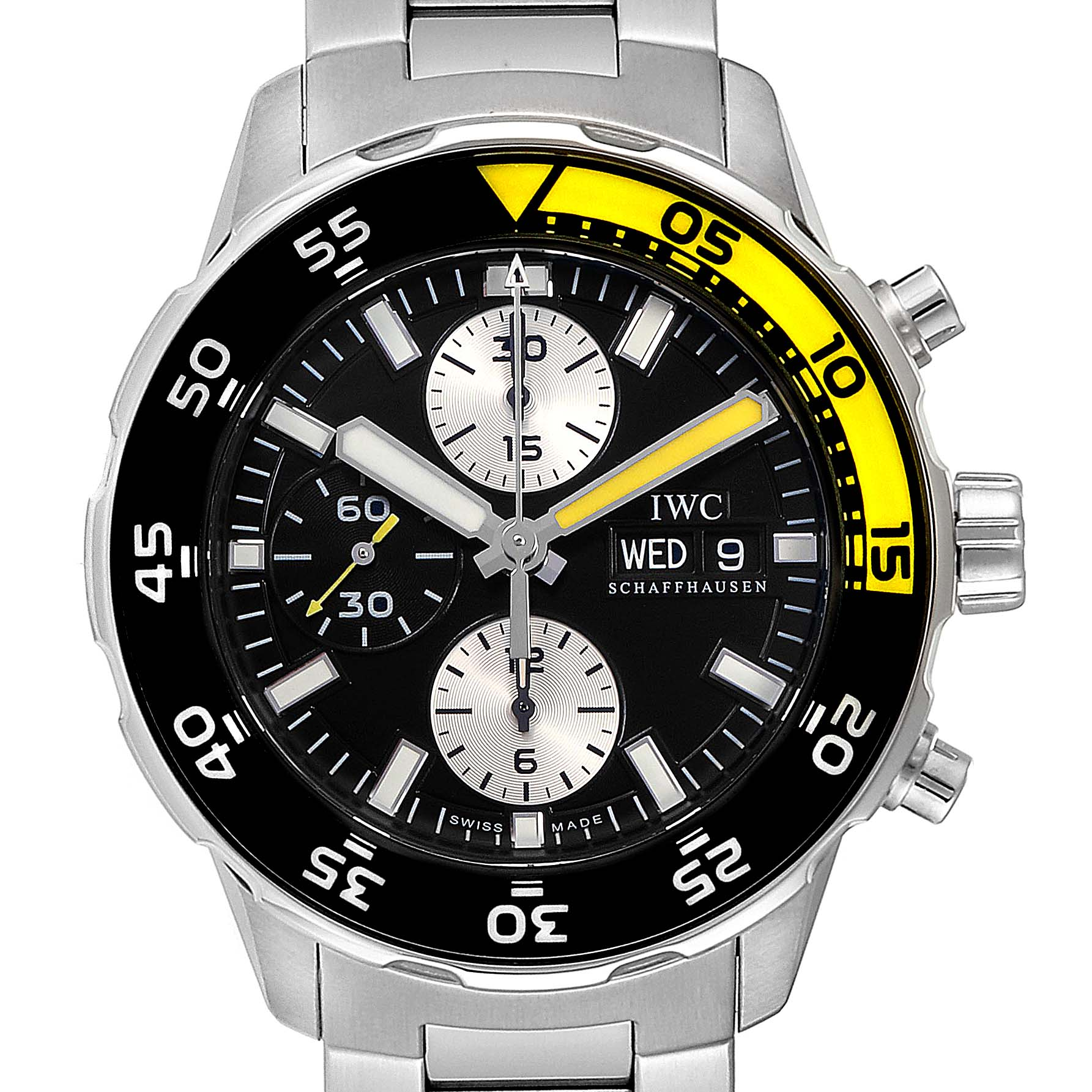 Photo of IWC Aquatimer Chronograph Black Yellow Day Date Mens Watch IW376701
