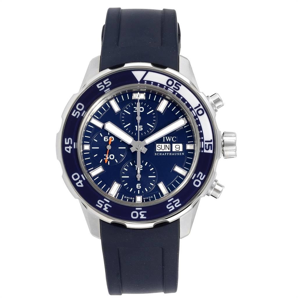 IWC Aquatimer Automatic Chrono Day Date Blue Strap Mens Watch IW376711 SwissWatchExpo