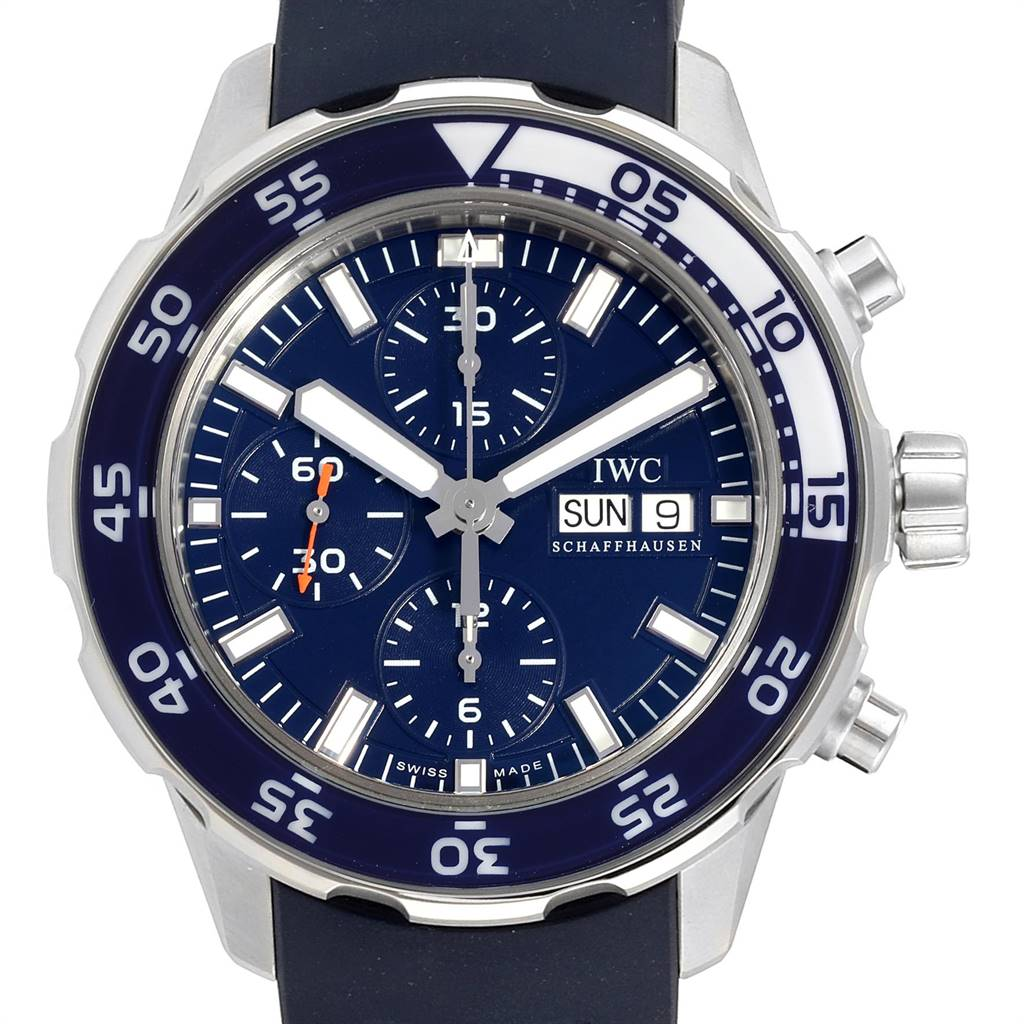 IWC Aquatimer Automatic Chrono Day Date Blue Strap Mens Watch IW376711 SwissWatchExpo