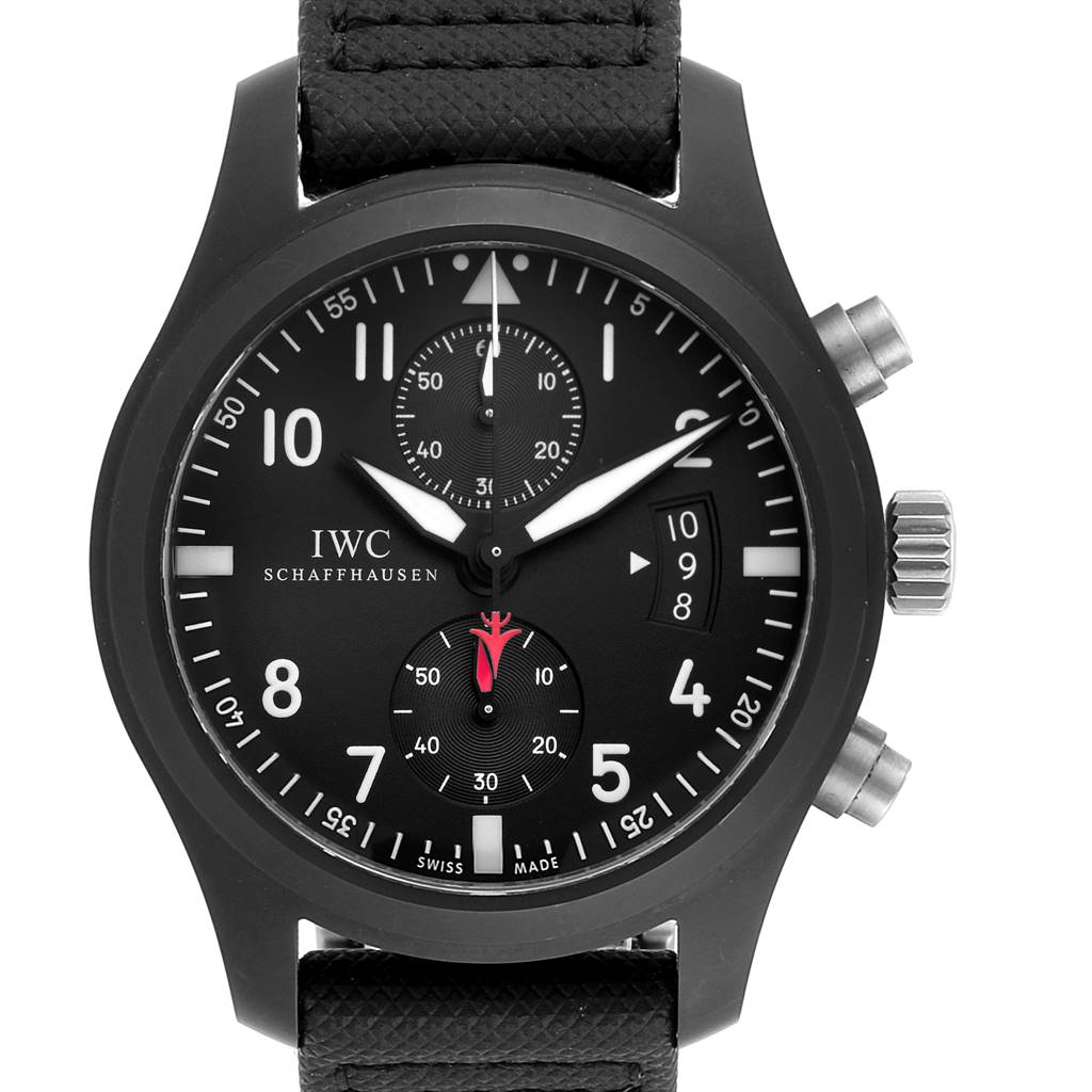 Photo of IWC Pilot Top Gun Chronograph Ceramic Titanium Mens Watch IW388001