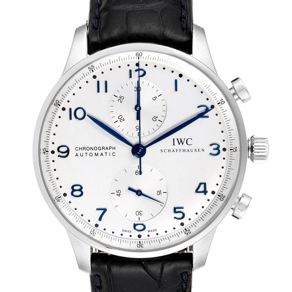 IWC Portuguese Chrono Silver Dial Blue Hands Steel Mens Watch IW371446 SwissWatchExpo