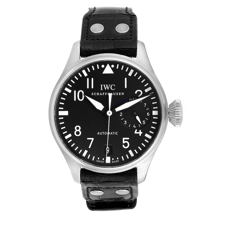 IWC Big Pilots 46mm Black Dial Automatic Steel Mens Watch IW500401 Box Card SwissWatchExpo