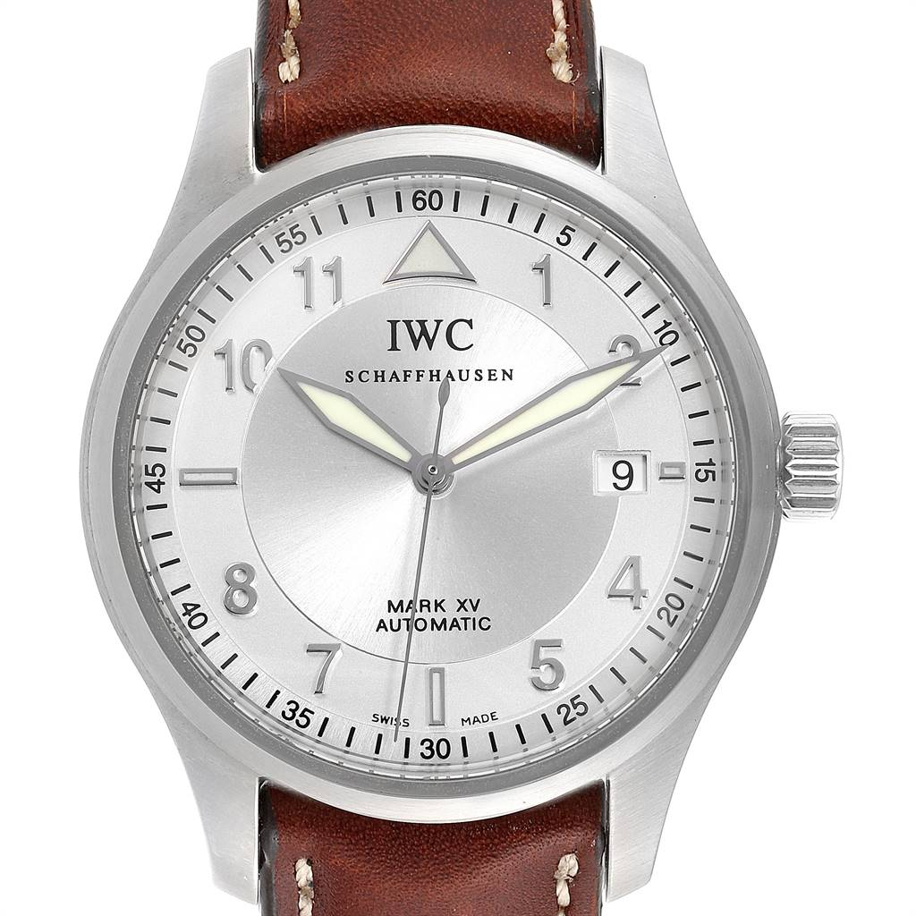 Photo of IWC Mark XV Spitfire Silver Dial Brown Strap Steel Mens Watch IW325313