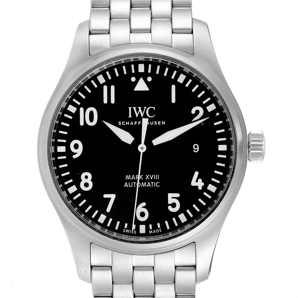 Photo of IWC Pilot Mark XVIII Black Dial Steel Mens Watch IW327015 Box Papers