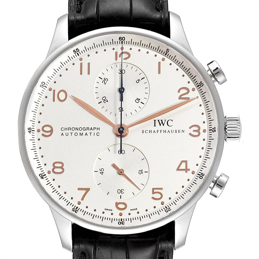Photo of IWC Portuguese Chronograph Steel Mens Watch IW371401 Box Card
