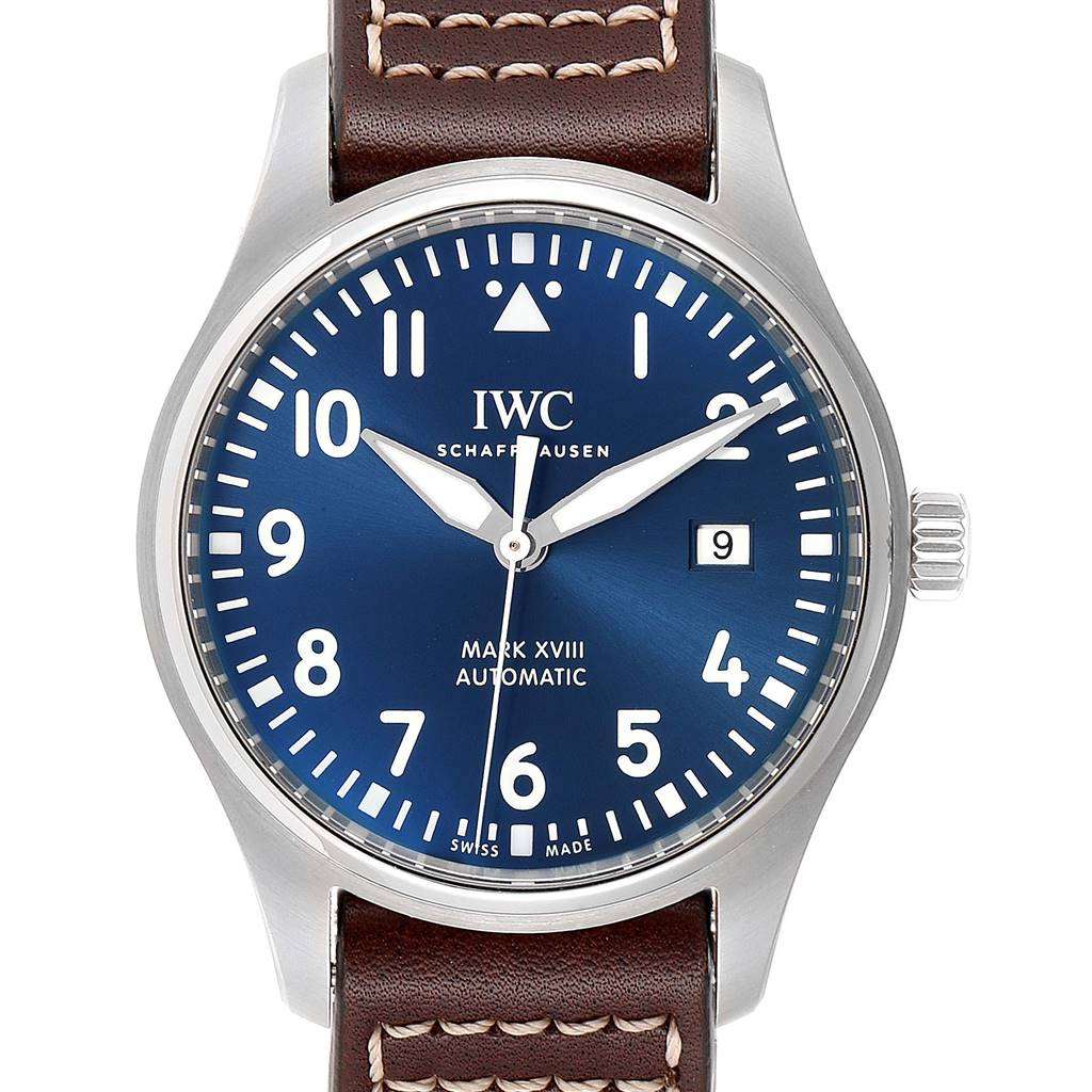 Photo of IWC Pilot Mark XVIII Petit Prince Blue Dial Mens Watch IW327004 Unworn