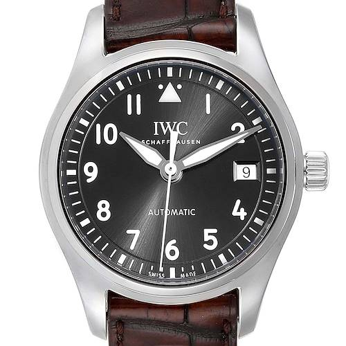 Photo of IWC Pilot Slate Dial Brown Strap Steel Mens Watch IW324001 Box Card