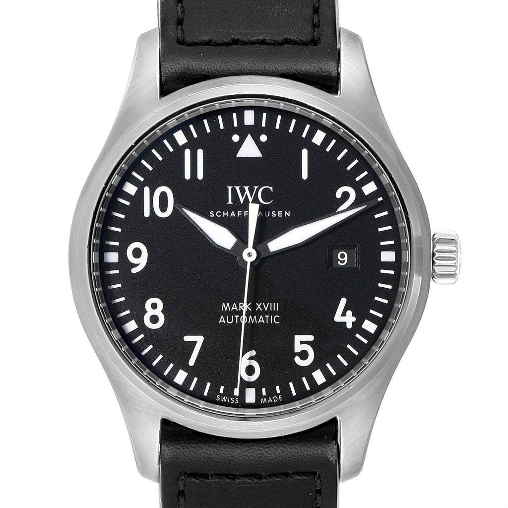 Photo of IWC Pilot Mark XVIII Black Dial Steel Mens Watch IW327001 Box Card