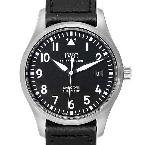Photo of IWC Pilot Mark XVIII Black Dial Steel Mens Watch IW327001 Box Card