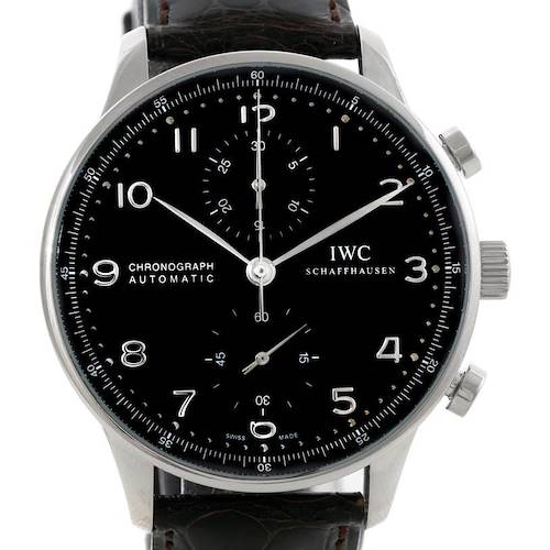 Photo of IWC Portuguese Chrono Black Dial Automatic Steel Mens Watch IW371438