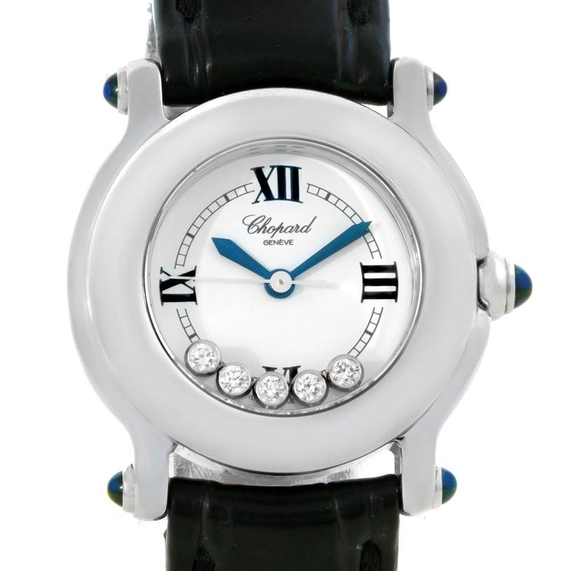 10094 Chopard Happy Sport White Dial Floating Diamond Watch 27/8245-23 SwissWatchExpo