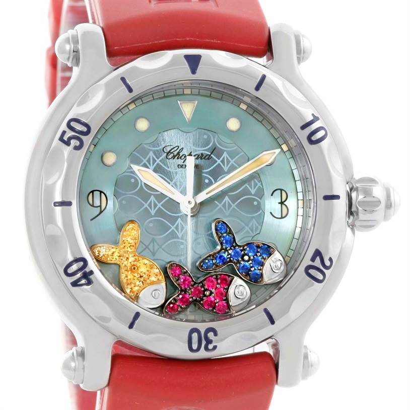 10234 Chopard Happy Fish Floating Rubi Sapphire Rubber Watch 288347-8402 SwissWatchExpo