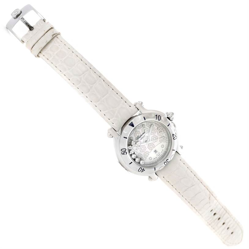 10344 Chopard Happy Sport Snowflake Floating Diamond Watch 278949-3001 SwissWatchExpo