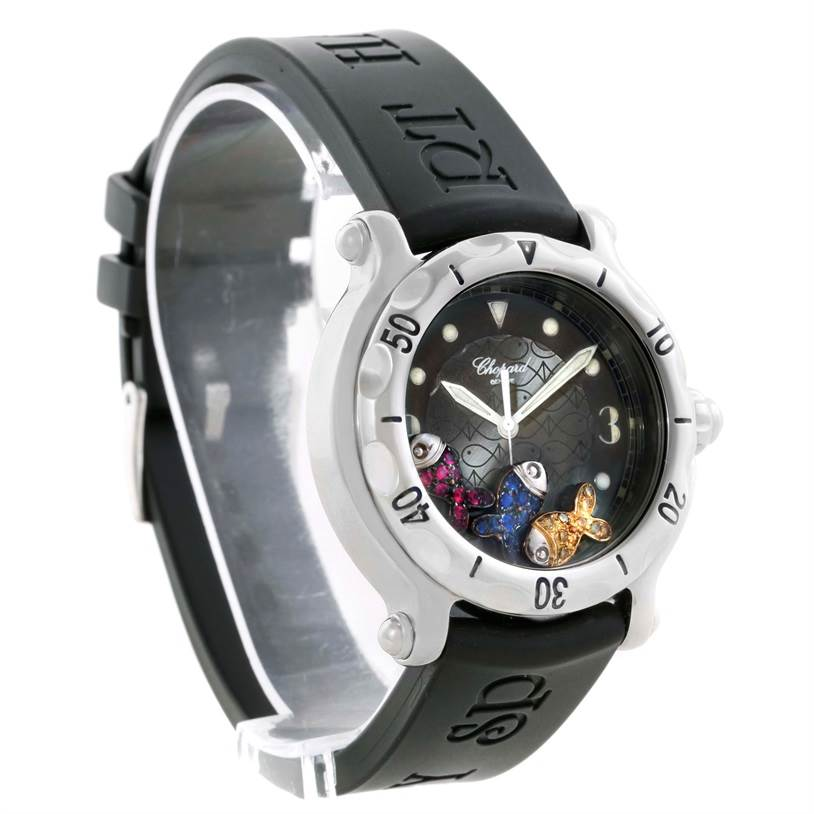 10345 Chopard Happy Beach Floating Rubi Sapphire Rubber Fish Watch 288347 SwissWatchExpo