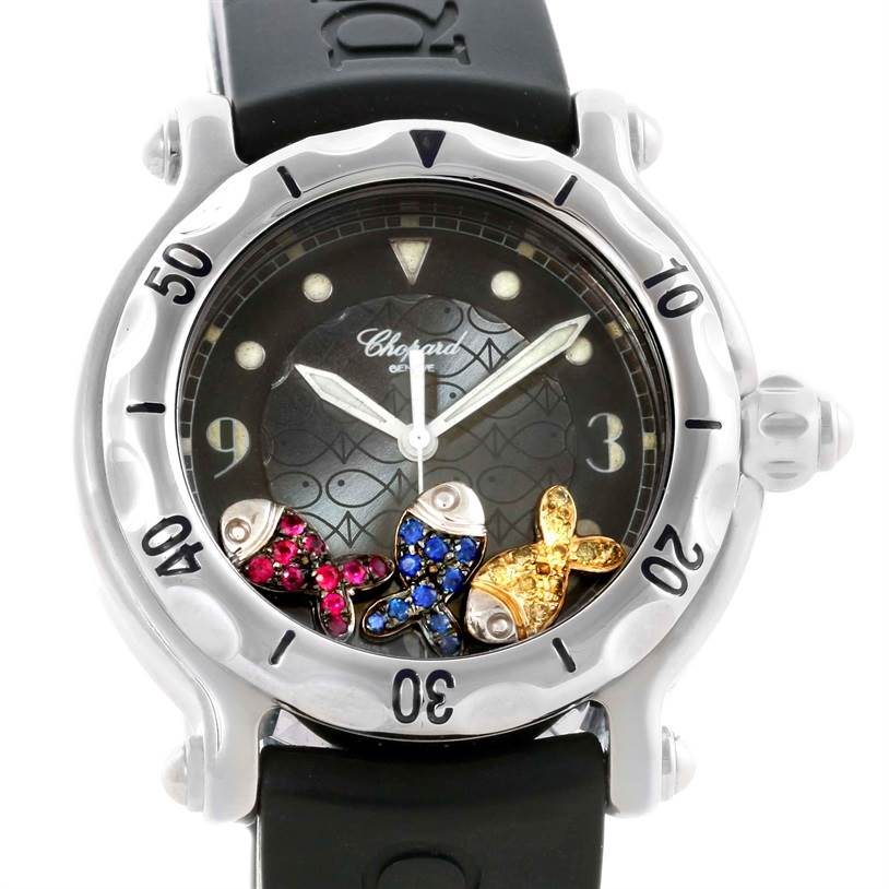 Photo of Chopard Happy Beach Floating Rubi Sapphire Rubber Fish Watch 288347