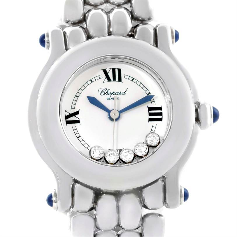 11499 Chopard Happy Sport White Dial 5 Floating Diamonds Watch 27/8250-23 SwissWatchExpo