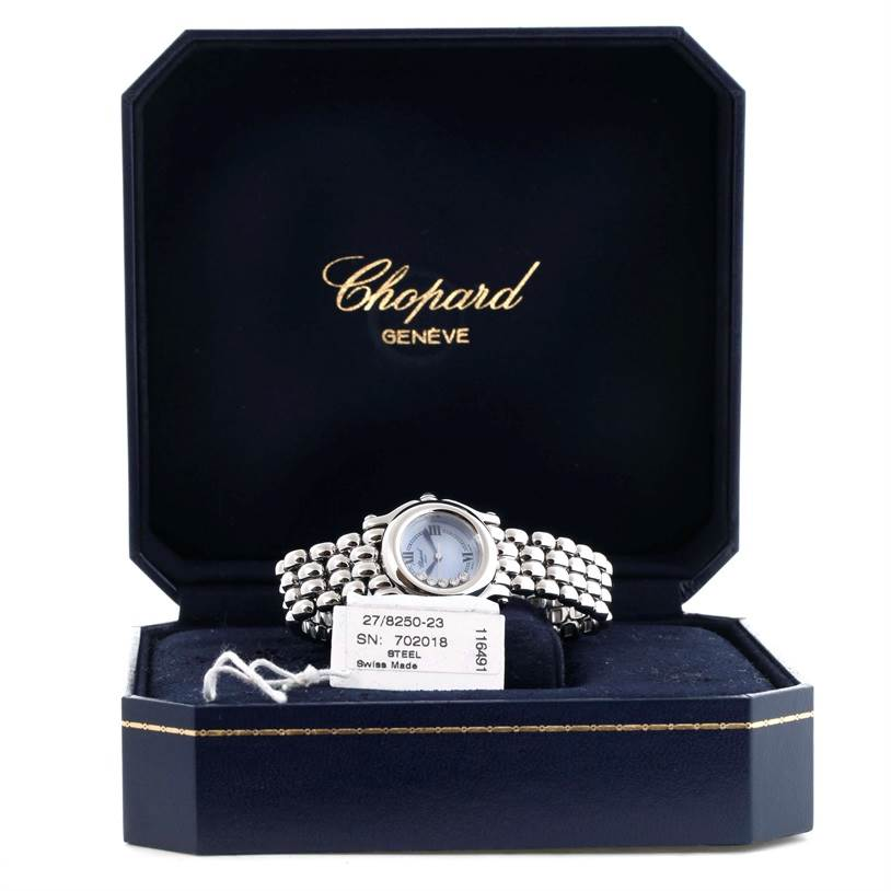 11501 Chopard Happy Sport Bleu Dial 5 Floating Diamonds Watch 27/8250-23 SwissWatchExpo