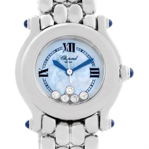 Photo of Chopard Happy Sport Bleu Dial 5 Floating Diamonds Watch 27/8250-23