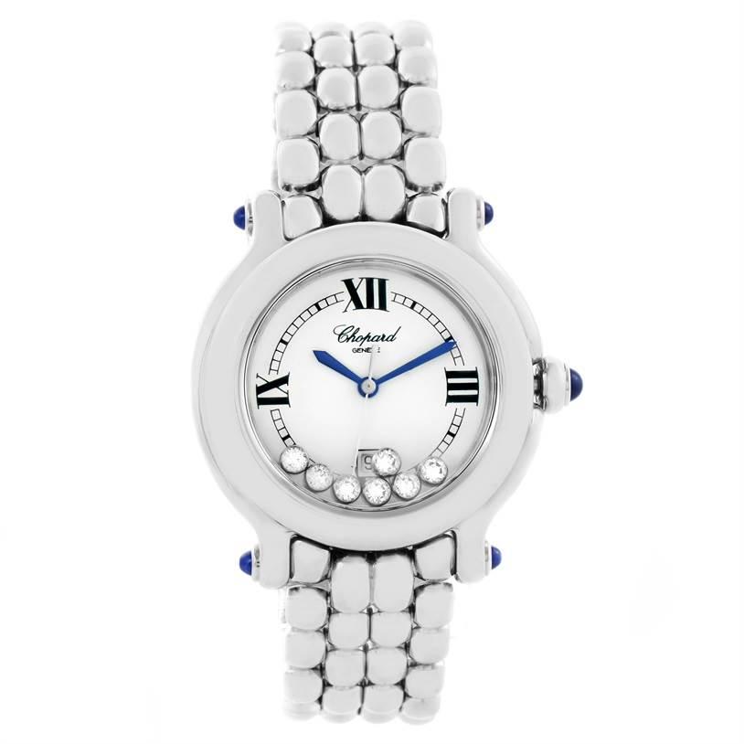 11494 Chopard Happy Sport White Dial Floating Diamond Watch 278236-3005 SwissWatchExpo