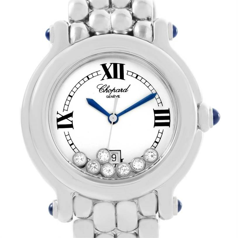 12434 Chopard Happy Sport White Dial Floating Diamond Watch 278236-3005 SwissWatchExpo