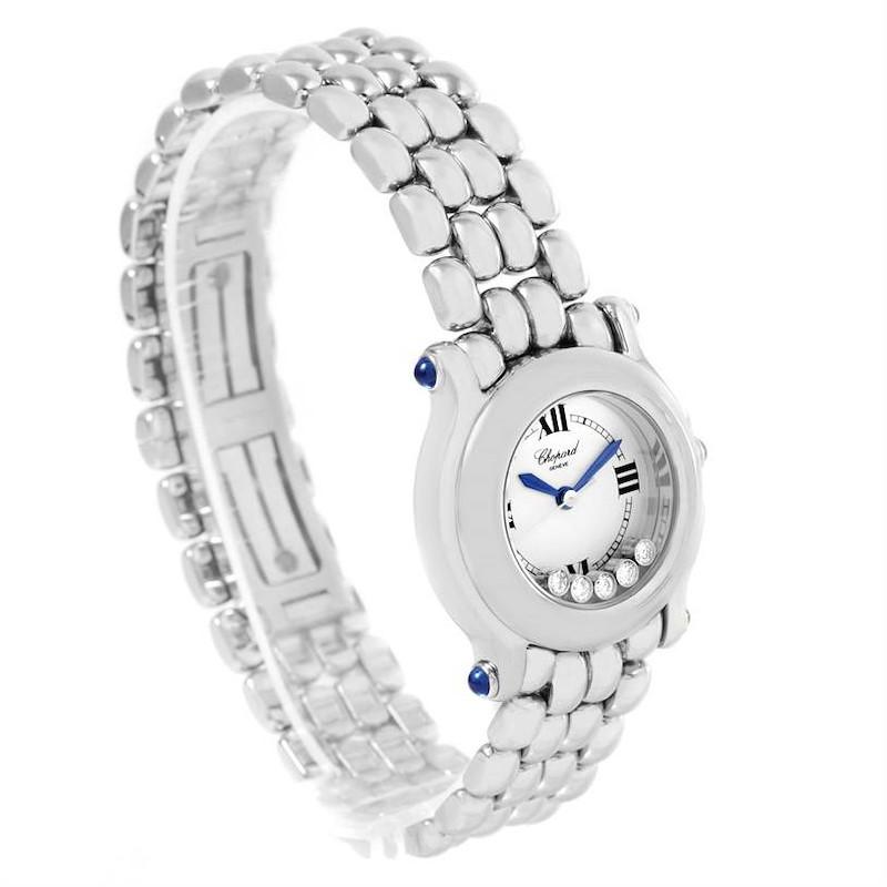 Chopard Happy Sport White Dial 5 Floating Diamonds Watch 27/8250-23 SwissWatchExpo