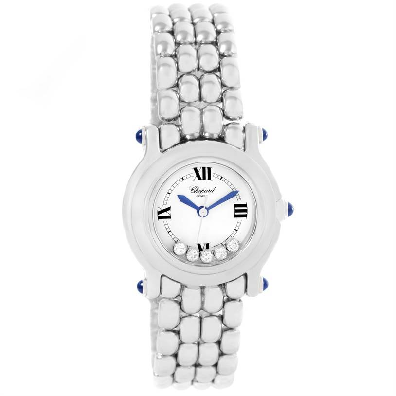 12436 Chopard Happy Sport White Dial 5 Floating Diamonds Watch 27/8250-23 SwissWatchExpo