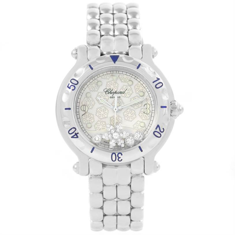 12577 Chopard Happy Sport Snowflake Floating Diamonds Watch 27/8949 SwissWatchExpo