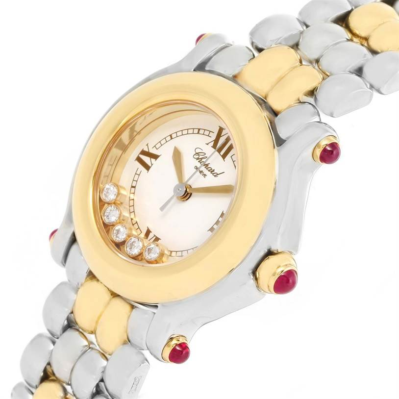 12575 Chopard Happy Sport Steel Yellow Gold Floating Diamonds Watch 27/8278 SwissWatchExpo