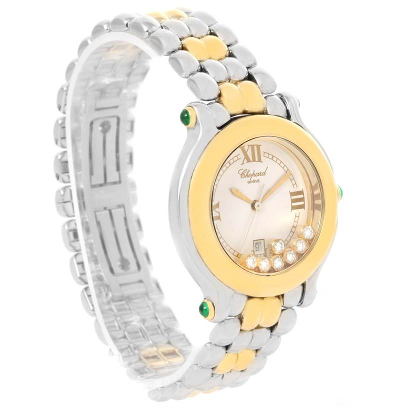 12576 Chopard Happy Sport Floating Diamond Gold and Steel Watch 27/8276-22 SwissWatchExpo