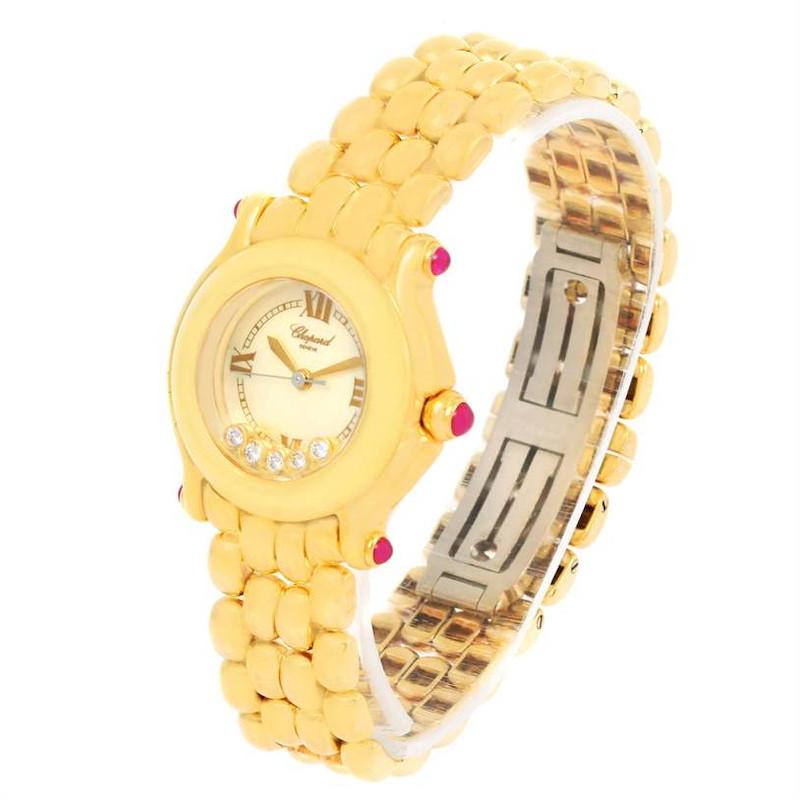 Chopard Happy Sport Yellow Gold Floating Diamonds Watch 27/6150-21 SwissWatchExpo