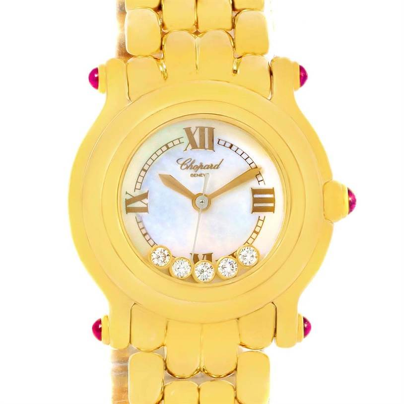 12781 Chopard Happy Sport Yellow Gold Floating Diamonds Watch 27/6150-21 SwissWatchExpo