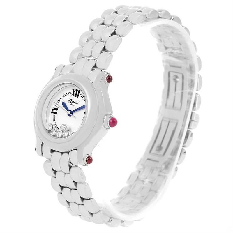 Chopard Happy Sport White Dial 5 Floating Diamonds Watch 27/8250-21 SwissWatchExpo