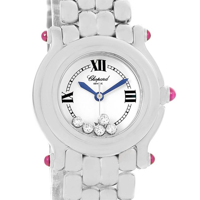 12578 Chopard Happy Sport White Dial 5 Floating Diamonds Watch 27/8250-21 SwissWatchExpo