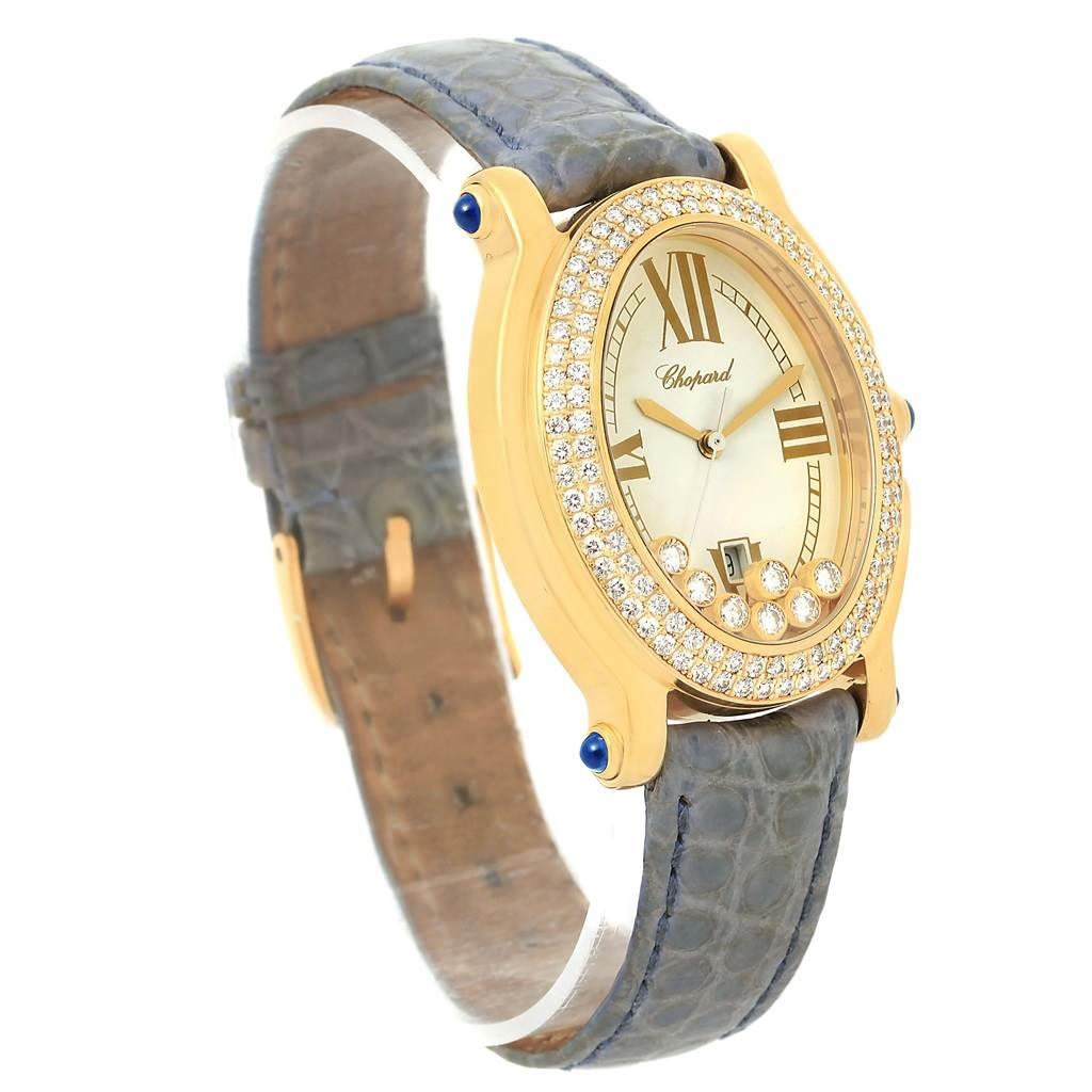 15638 Chopard Happy Diamond Yellow Gold Floating Diamonds Watch 27/7012-23 SwissWatchExpo