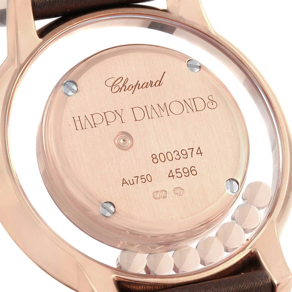 16921 Chopard Happy Diamond Rose Gold Floating Diamonds Watch 4596 SwissWatchExpo