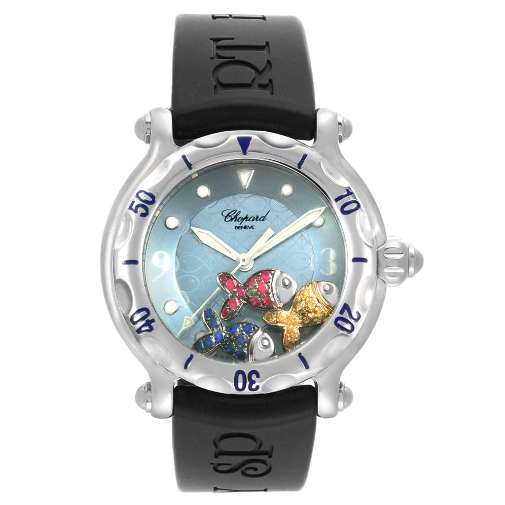22421 Chopard Happy Beach Floating Rubi Sapphire Fish Ladies Watch 288347 SwissWatchExpo