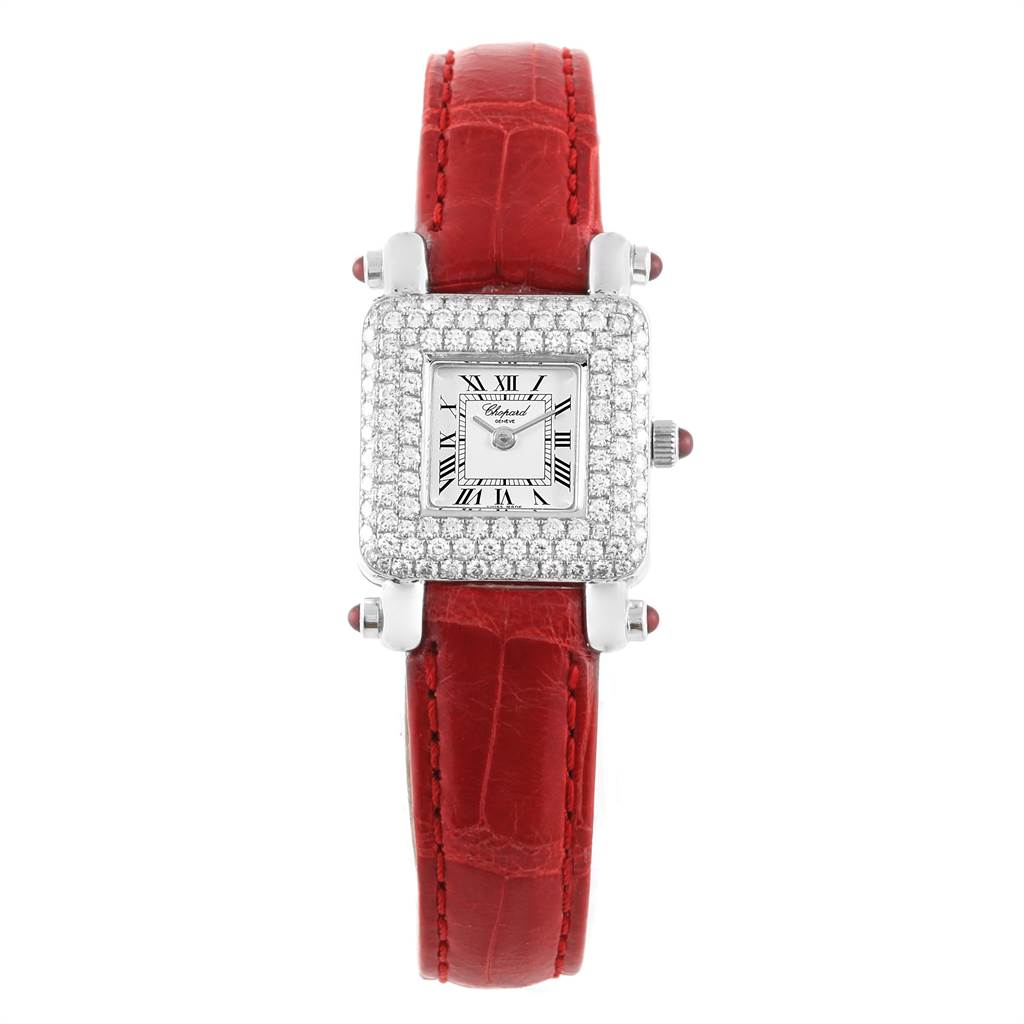 Chopard Happy Sport 18K White Gold Diamond Ladies Watch 419-1 SwissWatchExpo