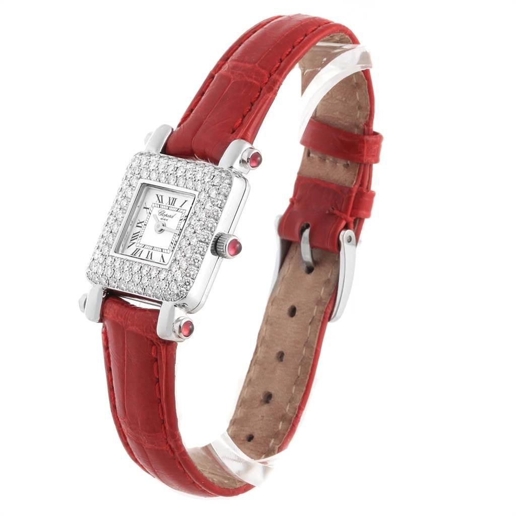 22542 Chopard Happy Sport 18K White Gold Diamond Ladies Watch 419-1 SwissWatchExpo
