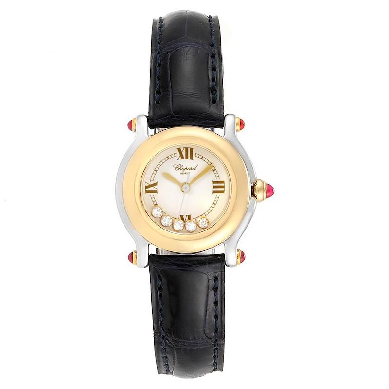 Chopard Happy Sport 5 Floating Diamond Yellow Gold Steel Watch 8246 SwissWatchExpo