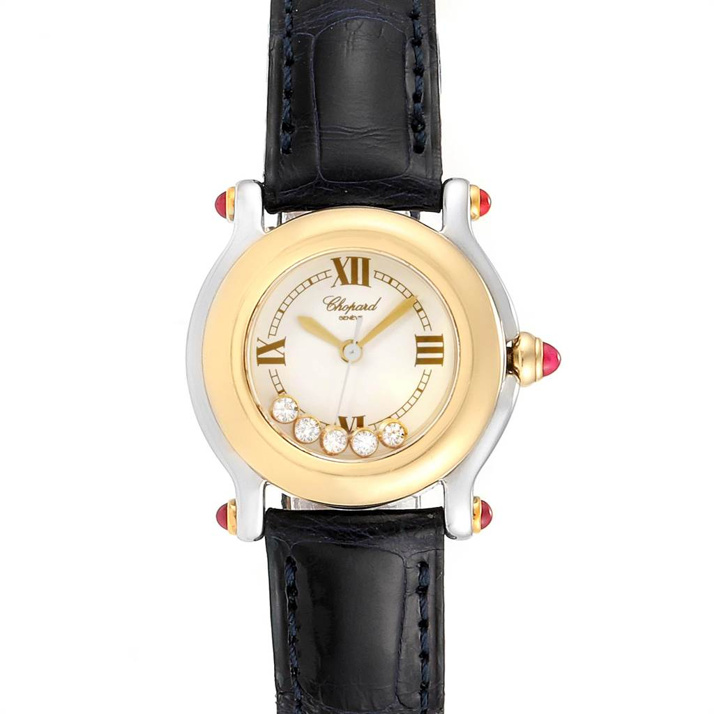 Chopard Happy Sport 5 Floating Diamond Yellow Gold Steel Watch 8246 SwissWatchExpo