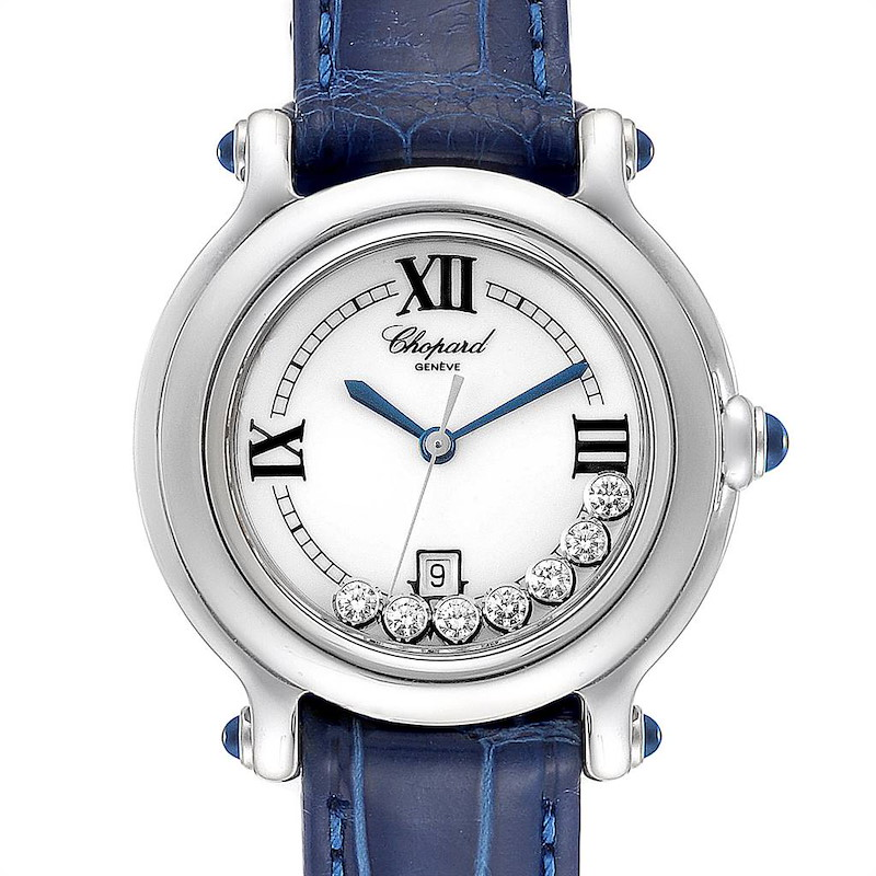 Chopard Happy Sport White Dial 7 Floating Diamond Watch 8236 Box Papers SwissWatchExpo