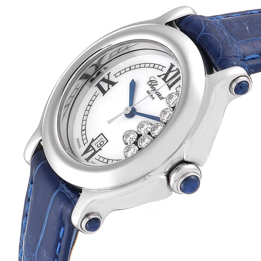 13275 Chopard Happy Sport White Dial 7 Floating Diamond Watch 8236 Box Papers SwissWatchExpo