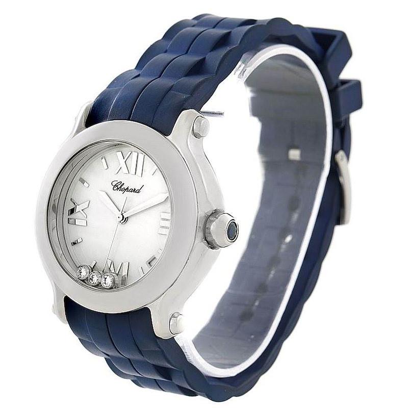 Chopard Happy Sport Floating Diamond Rubber Strap Watch 278475 SwissWatchExpo