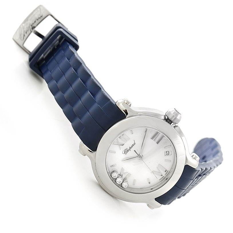 7813 Chopard Happy Sport Floating Diamond Rubber Strap Watch 278475 SwissWatchExpo