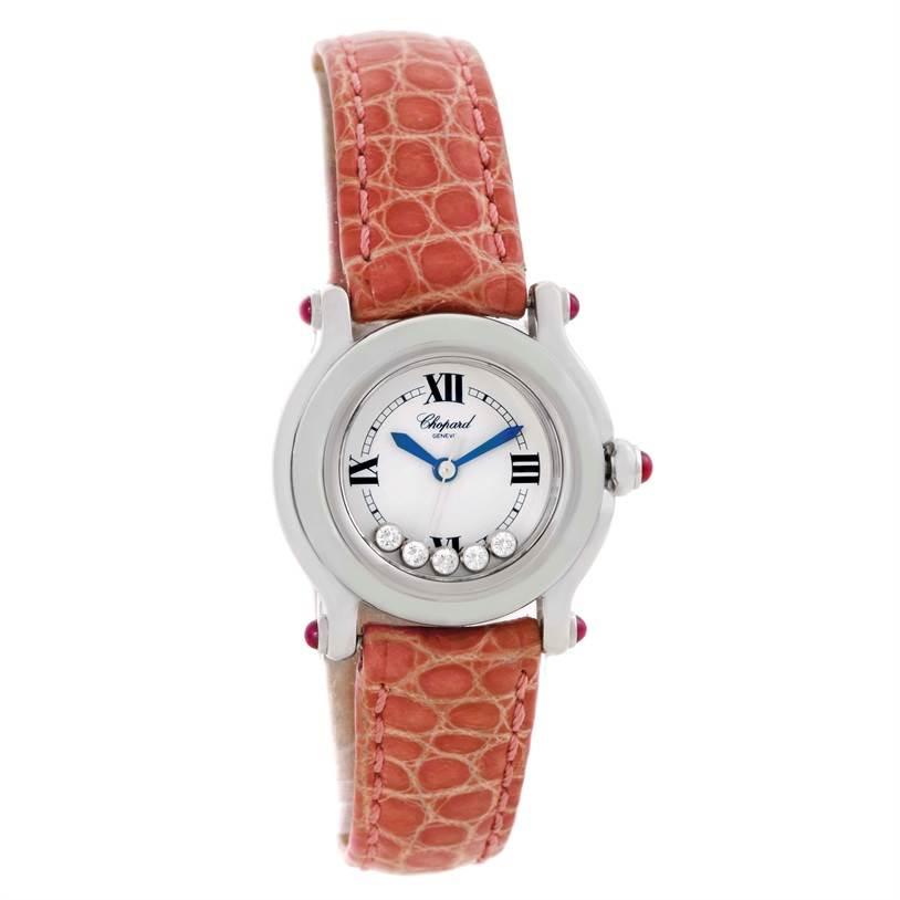 9797 Chopard Happy Sport Diamond White Dial Ladies Watch 27/8245-21 SwissWatchExpo