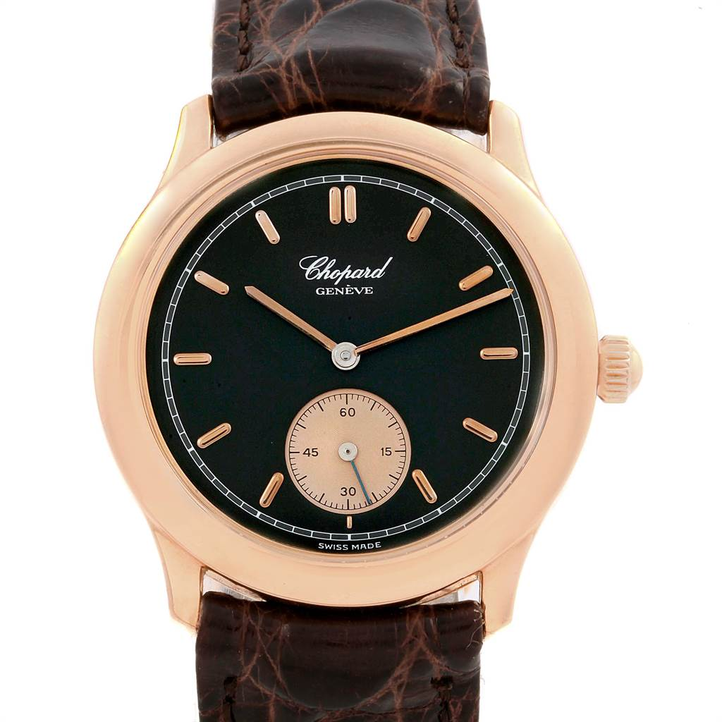 9647A Chopard Classique Rose Gold Black Dial Brown Strap Mens Watch 16-1168 SwissWatchExpo